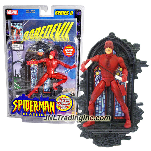 ToyBiz Year 2001 Marvel Legends Series II Spider-Man Classic Series 6 Inch Tall Action Figure - DAREDEVIL with 30 Points of Articulation, Nunchucks and Collector Wall Mountable Display Stand Plus Bonus 32 Page Comic Book