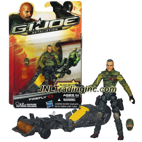"Hasbro Year 2012 G.I. JOE Movie Series ""Retaliation"" 4 Inch Tall Action Figure - FIREFLY with Alternative Head, Blast Board with ""Power-Up"" Glow and Explosive Launcher, Explosive Canister and Pistol"
