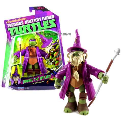 Playmates Year 2014 Nickelodeon Teenage Mutant Ninja Turtles 5 Inch Tall Action Figure - Live Action Role Play DONNIE THE WIZARD with Mage Hat and Staff