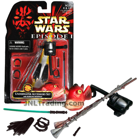 Star Wars Year 1998 The Phantom Menace Series Kit - UNDERWATER ACCESSORY SET with Bubbling Backpack, Gungan Staffs, Flippers, Jedi Breathing Devices, Lightsaber, Lightsaber Handle and Fish