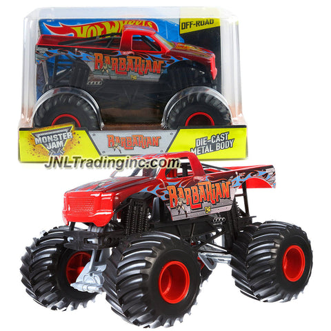 Hot Wheels Year 2015 Monster Jam 1:24 Scale Die Cast Metal Body Official Monster Truck Series #CGD83 - BARBARIAN TyG w/ Monster Tires, Working Suspension & 4 Wheel Steering