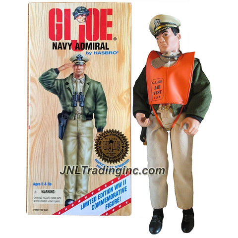 Hasbro Year 1996 GI JOE World War II Clasic Collection Series 12 Inch Tall Soldier Figure - NAVY ADMIRAL (Black Hair Caucasian) with Binoculars, Air Vest, Gun and Dog Tag