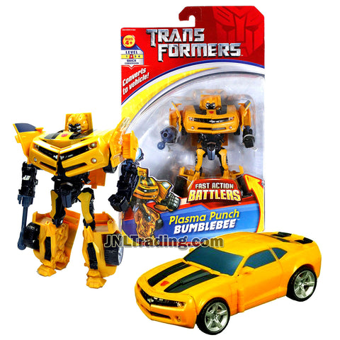 Transformer Year 2007 Fast Action Battlers Series 6 Inch Tall Figure - Autobot Plasma Punch BUMBLEBEE with Plasma Bolt Launcher (Vehicle Mode: Camaro Concept)