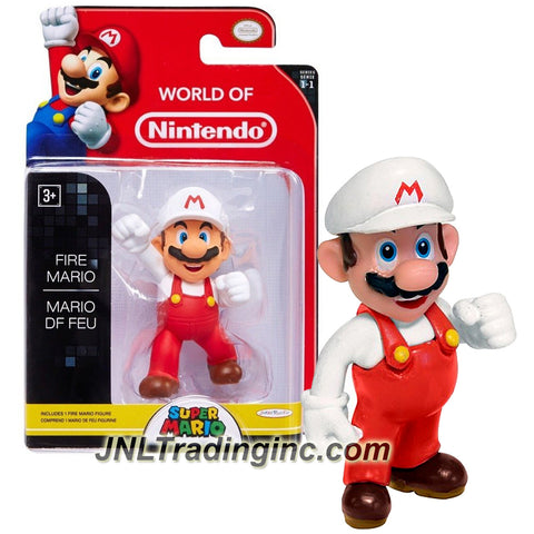 "Jakks Pacific Year 2014 World of Nintendo ""Super Mario"" Series 2-1/2 Inch Tall Mini Figure - FIRE MARIO"