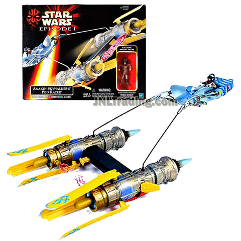 Star Wars Year 1998 Episode 1 The Phantom Menace Series Vehicle with 3 Inch Tall Figure Set - ANAKIN SKYWALKER'S POD RACER with Blast-Open Directional Vanes and Anakin Skywalker Figure