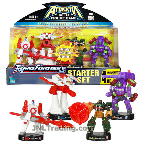 Attacktix Year 2006 Transformers Series 4 Pack Figure Starter Set - Robot SKYBLAST , Figher Jet SKYBLAST, OVERHAUL and DIRTBOSS