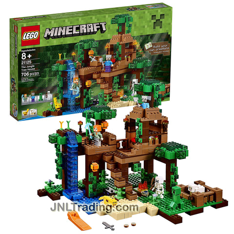 Lego Year 2016 Minecraft Series Set #21125 - THE JUNGLE TREE HOUSE with Creeper, Skeleton, Ocelot, Sheep Plus Alex and Steve Minifigure (Pieces: 706)