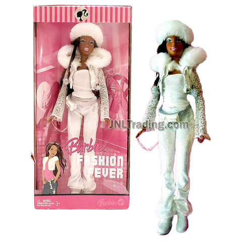 Year 2006 Barbie Fashion Fever Series 12 Inch Tall Doll Set - Sassy, Smart and Cool NIKKI in White Jacket and White Velvet Pants with Fur Hat, Pocket Belt, Shoes, Sunglasses and Purse