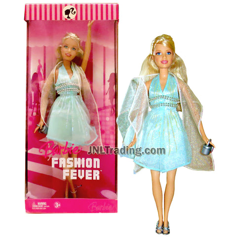 Year 2006 Barbie Fashion Fever Series 12 Inch Doll - BARBIE K4812 in Shimmering Blue Dress with Scarf and Purse
