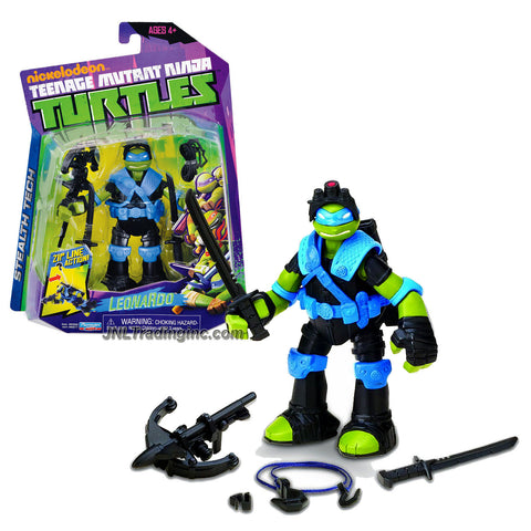 Playmates Year 2013 Nickelodeon Teenage Mutant Ninja Turtles TMNT Stealth Tech Series 5 Inch Tall Action Figure - LEONARDO with 2 Katana Swords, Cross Bow and Rappelling Line