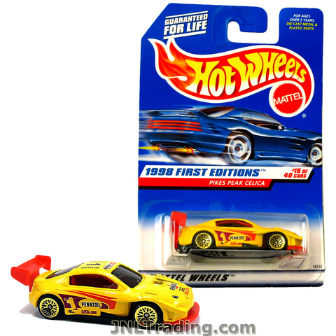 Hot Wheels Year 1998 First Editions Series 1:64 Scale Die Cast Car Set #15 - Pennzoil Yellow Color Sports Coupe PIKES PEAK CELICA 18532
