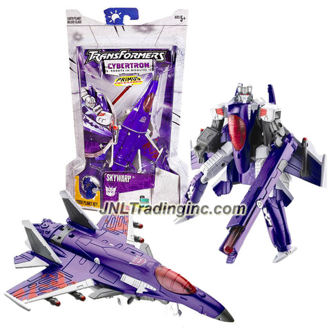 "Hasbro Year 2005 Transformers Cybertron Series Deluxe Class 6 Inch Tall Robot Action Figure - Decepticon SKYWARP with Hidden Missile Launcher, ""Heat-Seeking"" Missile and Earth Planet Cyber Key (Vehicle Mode: Fighter Jet)"