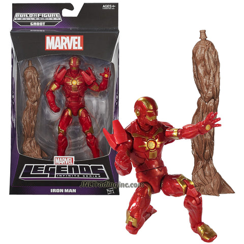 "Hasbro Year 2013 Marvel Legends Infinite Groot Series 6-1/2"" Tall Action Figure - Modular Armor IRON MAN with Groot's Right Leg"