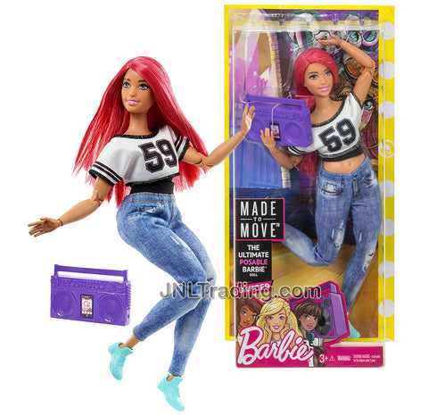 Year 2016 Barbie Made To Move You Can Be Anything Series 12 Inch Doll - Hispanic DANCER in Black White #59 Jersey Tops and Blue Denim Pants with Boombox