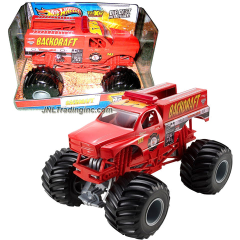 Hot Wheels Year 2013 Monster Jam 1:24 Scale Die Cast Metal Body Truck - BACKDRAFT W3361 with Monster Tires, Working Suspension and 4 Wheel Steering