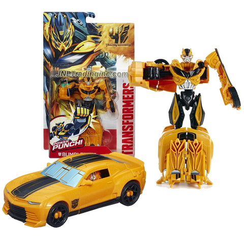 "Hasbro Year 2013 Transformers Movie Series 4 ""Age of Extinction"" Power Attacker 5-1/2 Inch Tall Robot Action Figure - Autobot BUMBLEBEE with Power Punch Feature (Vehicle Mode: Chevy Camaro)"