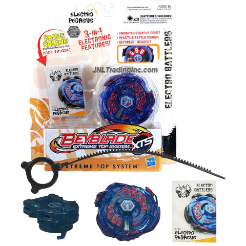 Hasbro Year 2011 Beyblade Extreme Top System XTS Electro Battlers : X-53 ELECTRO PEGASUS with 3 in 1 Electronic Features (Animated Pegasus Spirit, Reactive Battle Sounds and Beyspeed Readout) Plus Spin Launcher, Ripcord and Battle Online Code