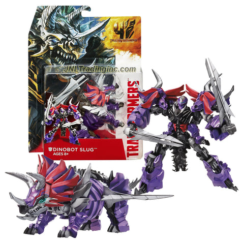 "Hasbro Year 2013 Transformers Movie Series 4 ""Age of Extinction"" Deluxe Class 6 Inch Tall Robot Action Figure - DINOBOT SLUG with 2 Spike Swords (Beast Mode: Triceratops)"