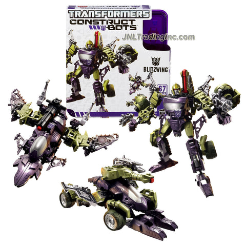 Hasbro Year 2013 Transformers Construct-Bots Series 6 Inch Tall Triple-Changers Class Robot Action Figure Set #E1:02 - Decepticon BLITZWING with Alternative Mode as Tank or Fighter Jet (Total Pieces: 67)