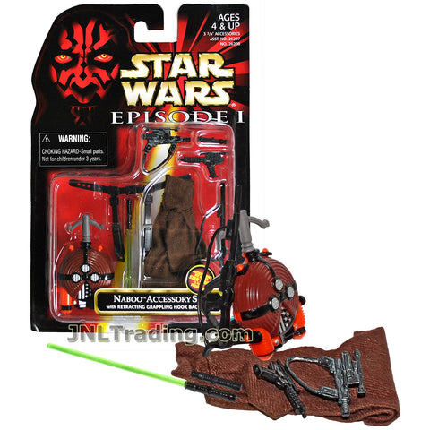 Star Wars Year 1998 The Phantom Menace Series Kit - NABOO ACCESSORY SET with Jedi Cloak, Grappling Hook Backpack, Blaster Rifles, Blaster Pistol, Lightsaber and Lightsaber Handle