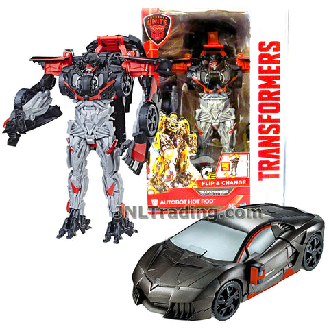 Transformers Year 2016 The Last Knight Movie Series Flip & Change Class 11 Inch Tall Robot Figure - AUTOBOT HOT ROD (Vehicle Mode: Sports Car)