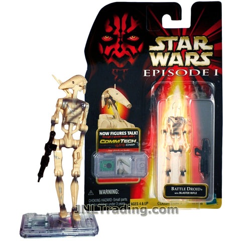 Star Wars Year 1998 The Phantom Menace Series 4 Inch Tall Figure - Variant Slashed BATTLE DROID with Blaster Rifle and CommTech Chip