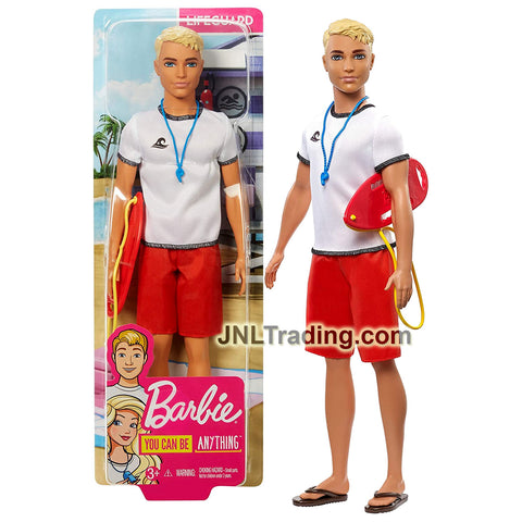 Year 2018 Barbie Career You Can Be Anything Series 12 Inch Doll - Caucasian LIFEGUARD KEN with Rescue Board and Whistle Necklace