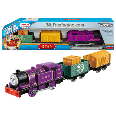"Fisher Price Year 2015 Thomas and Friends ""Sodor's Legend of the Lost Treasure"" Series Trackmaster Motorized Railway 3 Pack Train Set - RYAN the Purple Tank Engine (CDB75) with 2 Cars and 1 Removable Cargo"