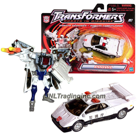 "Hasbro Year 2001 Transformers ""Robots In Disguise"" Series 5 Inch Tall Robot Action Figure - White High Speed Chaser Autobot PROWL with Flame Launcher and 2 Missiles (Vehicle Mode: Japan Version Police Car Lamborghini Diablo)"