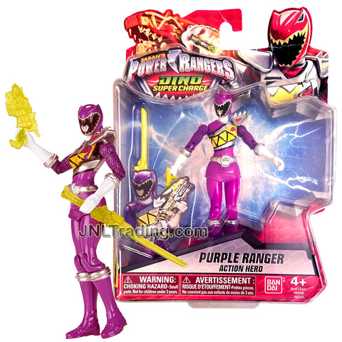 Year 2015 Power Rangers Dino Super Charge Series 5 Inch Tall Figure- Action Hero Purple Ranger with Blaster and Sword