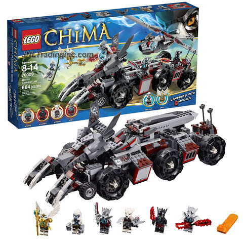 "Lego Year 2013 ""Legends of Chima"" Series Vehicle Set #70009 - WORRIZ' COMBAT LAIR with 5 Detachable Vehicles: Wolf Claw Bikes, Truck, Helicopter, Mobile Prison and Motorcyle Plus 6 Minifigures (Worriz, Wilhurt, Wakz, Windra, Eris and Grizzam) with Weapons (Total Pieces: 664)"