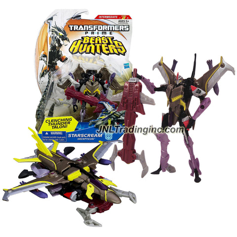 "Hasbro Year 2012 Transformers Prime ""Beast Hunters"" Series Deluxe Class 6 Inch Tall Robot Action Figure - #005 Decepticon STARSCREAM with Clenching Thunder Talon (Vehicle Mode: Fighter Jet)"
