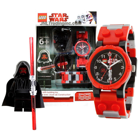 Lego Year 2010 Star Wars Series Watch with Minifigure Set #9001932 - DARTH MAUL Watch Plus Darth Maul Minifigure with Red Double Lightsaber (Water Resistant: 50m/165ft)