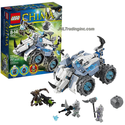 "Lego Year 2014 ""Legends of Chima"" Series 8 Inch Long Vehicle Set #70131 - ROGON'S ROCK FLINGER with Attack and Pursuit Modes, All-Terrain Wheels, Boulder Boomer, Hammer Horn and Spider Blaster Plus Rogon, Rinona and Sparacon Minifigures (Total Pieces: 257)"