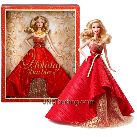 Year 2013 Barbie Collector Edition 12 Inch Doll Set - HOLIDAY BARBIE 2014 with Red Classic Silhouette Floor Length Gown Plus Golden Bow and Necklace