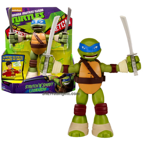 Playmates Year 2014 Nickelodeon Teenage Mutant Ninja Turtles 8-1/2 Inch Tall Electronic Action Figure - STRETCH 'N' SHOUT LEONARDO with 2 Katana Swords Plus Stretch and Sound FX