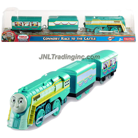 "Fisher Price Year 2013 Thomas and Friends As Seen On ""King of the Railway"" DVD Series Trackmaster Motorized Railway Battery Powered Tank Engine 3 Pack Train Set - CONNOR'S RACE TO THE CASTLE with Connor the Streamline Engine, 1 Cargo Car and 1 Passenger Car"