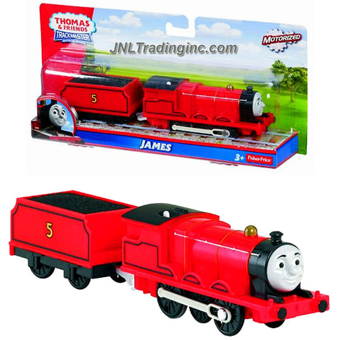 "Product Features: Includes: JAMES the Red Color Mixed-Traffic Engine with ""Coal Loaded"" Car Can be used on track or on any flat surface. (Tracks are not included) Requires 1 ""AA"" batteries (Batteries Not Included) Produced in year 2013 For age 3 and up Product Description: Fisher Price Year 2013 Thomas and Friends Trackmaster Motorized Railway Battery Powered Tank Engine 2 Pack Train Set - JAMES the Red Color Mixed-Traffic Engine (BLM63) with ""Coal Loaded"" Car"