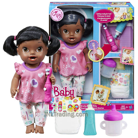 Year 2013 Baby BA Alive Series 12 Inch Doll Set - Brushy Brushy Baby (African American Version) with Toothbrush, Toothpaste. Sippy Cup and Diaper