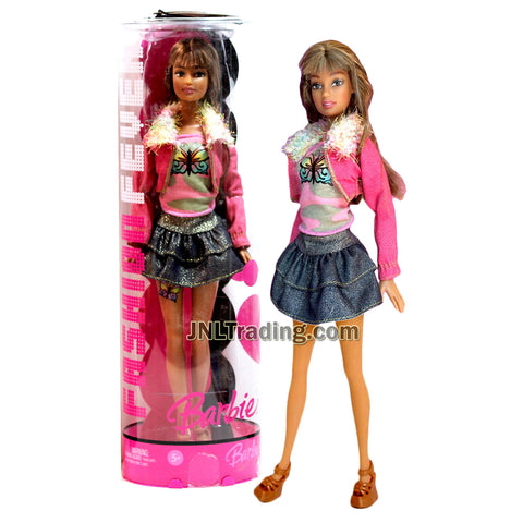 Year 2006 Barbie Fashion Fever Series 12 Inch Doll - TERESA J1386 in Pink Jacket, Butterfly Tops, Ruffled Denim Skirt, Shoes and Display Stand