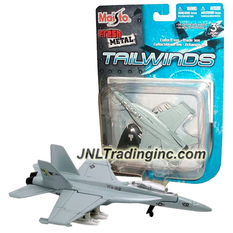 Maisto Fresh Metal Tailwinds 1:120 Scale Die Cast Military Aircraft - U.S. Navy Supersonic Fighter/Attack Jet F/A-18E Super Hornet with Display Stand
