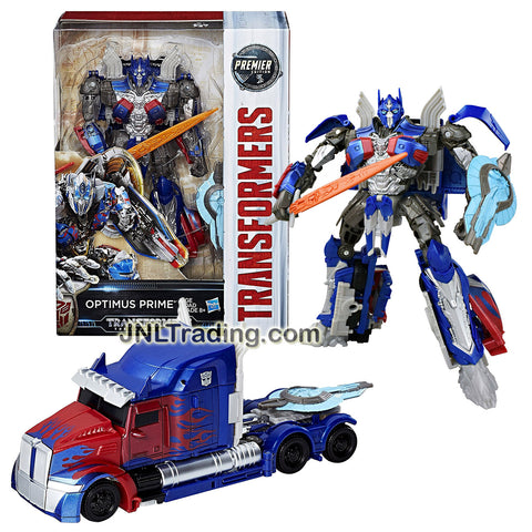Hasbro Year 2016 Transformers Movie The Last Knight Voyager Class 7 Inch Tall Figure - OPTIMUS PRIME with Shield and Sword (Vehicle Mode: Rig Truck)