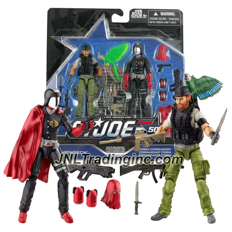 Hasbro Year 2015 G.I. JOE 50 Series 2 Pack 4 Inch Tall Action Figure Set - HUNT FOR COBRA COMMANDER with SHIPWRECK and COBRA COMMANDER Plus Assault Rifles, Knives, Parrot, Alternative Head, Guns, Display Bases and Profile Cards