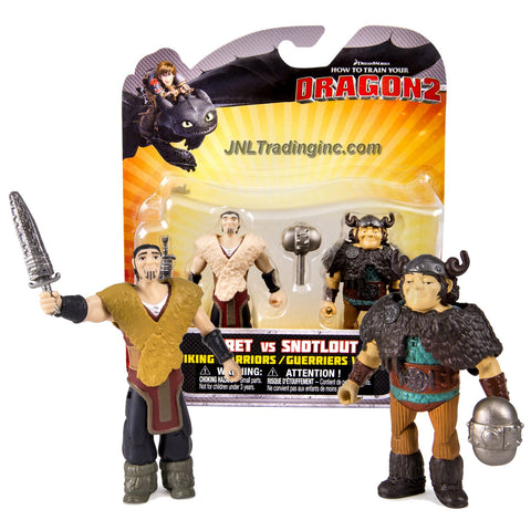 "Spin Master Year 2014 Dreamworks ""How to Train Your Dragon 2"" Movie Series 2 Pack 3-1/2 Inch Tall Action Figure - Viking Warriors ERET with Sword vs Guerriers Vikings SNOTLOUT with Battle Hammer"