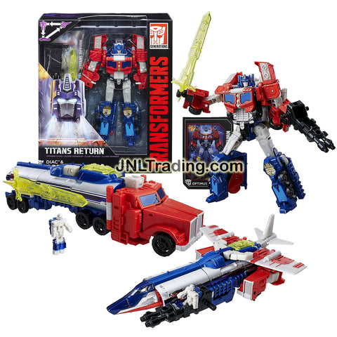 Hasbro Year 2015 Transformers Generations Titans Return Voyager Class 7 Inch Tall Figure - DIAC and OPTIMUS PRIME with Blasters and Card (Alt Mode: Jet and Firetruck)