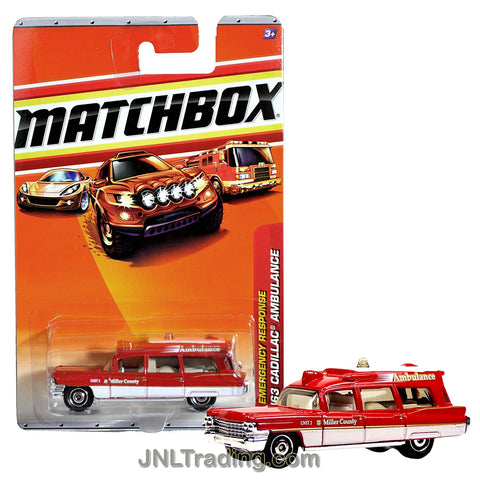 Matchbox Year 2009 Emergency Response Series 1:64 Scale Die Cast Metal Car #55 - Red Station Wagon Unit 2 Miller County '63 CADILLAC AMBULANCE R4983
