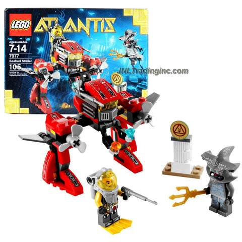 Lego Year 2011 Atlantis Series Vehicle Set #7977 - SEABED STRIDER with Hammerhead Guardian and Diver Minifigures Plus Sea Snake, Harpoon, Trident, Treasure and Rare Gold Elements (Total Pieces: 105)