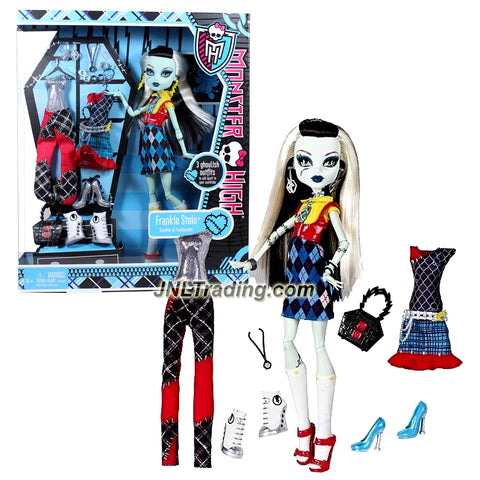 "Mattel Year 2011 Monster High Exclusive ""I Love Fashion"" Series 12 Inch Doll - Frankie Stein ""Daughter of Frankenstein"" with 3 Sets of Ghoulish Outfit, 3 Pairs of Shoes, Earrings, Necklace and Handbag"