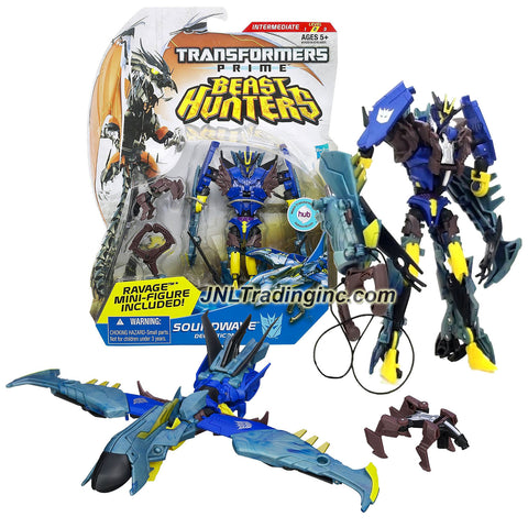 "Hasbro Year 2012 Transformers Prime ""Beast Hunters"" Series Deluxe Class 6 Inch Tall Robot Action Figure - #002 Decepticon SOUNDWAVE with Talon Grapple Cannon and Ravage Mini Figure (Vehicle Mode: Recon Drone)"
