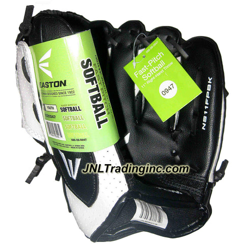Easton Fast Pitch Softball Youth 11 Inch Right Hand Throw Glove - Model: NS11FPBK , Color: White and Black